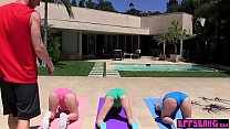 Stunning teen fucked yoga trainer in front of friends