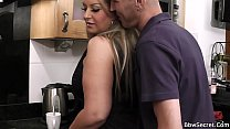 Husband caught cheating with BBW on the kitchen