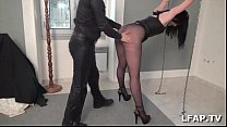 French bitch tied up and corrected with cock