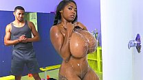 Black chick with insane huge tits sucks a black cock