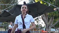 Teen Racahel gets sexual with her lover in the school bus video