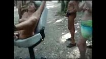 Horny bitch used by strangers at nude camping. Public nudity ภาพขนาดย่อ