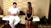 Massaged babe jizzed over
