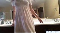 Webcam girl riding pink dildo on bathroom counter - KellysCams.com
