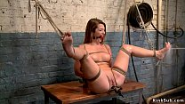 Tied and gagged babe gets water bondage
