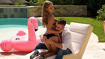 Bikini teen Tiffany Tatum gets her sweet wet pink fucked hard by the pool