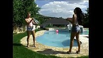 Blonde floozie Katy Caro enjoys eating jizz squeezed out of gaping buttonhole of pretty brunette hottie Simony Diamond after they had shared big pole near the pool