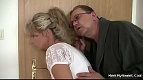 Perverted olds seduces his hot GF as he leaves