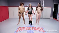 Daisy Ducati vs busty Kyra Rose in lesbian sex wrestling