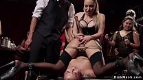 Cute slave tormented at bdsm party preview image