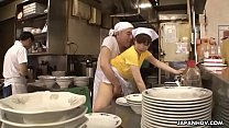 Japanese waitress Mimi Asuka gets finger fucked...