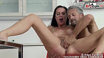 German skinny big tits brunette femdom milf sedcues guy for fuck on table