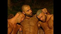 3 Muscle Hairy Daddies Fuck In The Woods.
