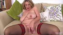 Hot British mature Camilla playing with her big tits and sucks her nipples then finger fucks her tight juicy pussy