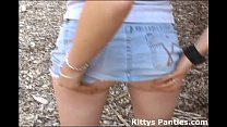 Playing with cute teen Kitty out back
