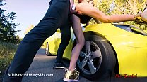 Public sex on car with fitness amateur couple. ...