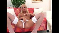 Veronika fingering in white stockings and panties Image