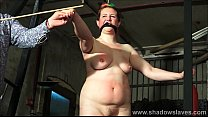 Tit whipping and hard caning of redhead amateur bdsm slave Bunny in rigid spanking and clamped nipple torments