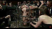 Beautifull sex slave in cage is given to the hungry cocks in b. group sex