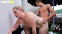 AMATEUR EURO - BBW Blondie Teen Anna K. Goes For A Hot Ride On The Backyard Of Her BF