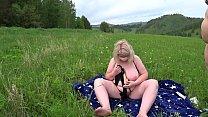 Lesbians BBW having fun outdoors on the grass. Mature milf doggystyle in mini bikini shakes big tits and fat butt. thumbnail
