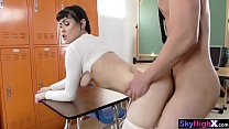 Horny college teen fucks a moms ex BF in a classroom