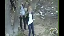 Group of desperate German girls enjoys peeing in the woods thumbnail