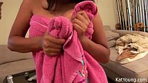 Kat young in a towel