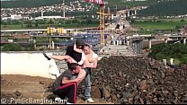 Young teen girl PUBLIC gangbang threesome at a construction site