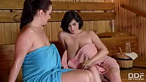 Luscious lesbians Joanna Bliss & Luna Amor suck each others' big titties