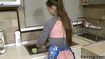 young wife in kitchen