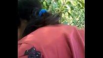 Desi cute girl sucking her boyfriend outdoor