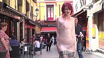 Babe wrapped in plastic in public video