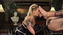 Blond in thigh high boots rides slave