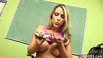 Big tits teacher playing her dildo in the classroom until she cums thumbnail