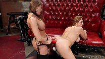 Busty lesbian anal with monster strap on