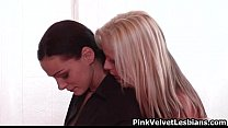 Two stunning lesbian girls love eating