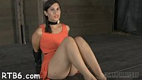 Gagged beauty's pussy is being drilled viciously by hard rod thumbnail