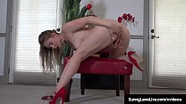 All Natural Sunny Lane Sucks Her Pussy Juice Of...