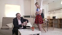 Tricky Old Teacher - Hottie passes a sex test on the couch