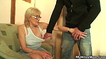 Skinny old mother inlaw ride his cock