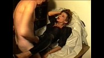 Sperm-Traudl with crotchopen fast-fuck pvc trousers  gets a fuck without foreplay