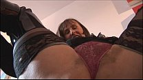 Busty hairy mature in tight mini skirt  plays w...