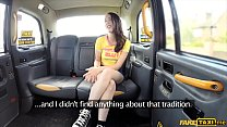 Olive skin brunette fucked outdoors by a taxi driver