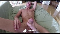HD - MenPOV Cute guy gets his dick jerked off all over