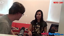 Inked English slut sucks fake producers cock with power