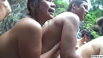 Uncensored JAV cheating wives raw sex orgy outdoor onsen thumbnail