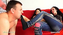 MIRA CUCKOLD AND HER GIRLFRIEND - FOOT SLAVE TRAINING