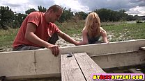 Image: Small teenage pussy fucked outdoors