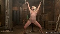 Bound slave is rough toyed on hogtie
